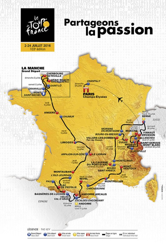 Map route Tour de France 2016